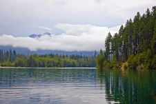 Free Landscape With  Lake And Evergreen Forest Royalty Free Stock Images - 15992719