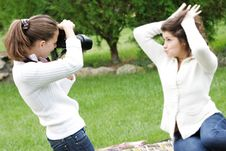 Free Two Girls Taking Pictures Stock Photo - 15994510