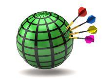 Free Green Globe And Darts Royalty Free Stock Photo - 15995125