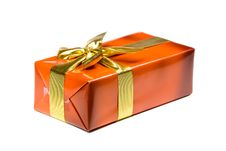 Free Gift Box With Golden Ribbon,isolated On The White Royalty Free Stock Photography - 15995667