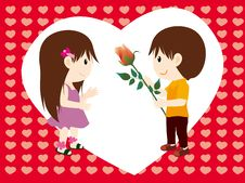 Girl Boy And Rose Royalty Free Stock Images