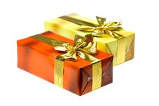 Free Gift Box With Golden Ribbon,isolated On The White Stock Images - 15996144