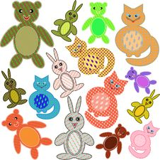 Free Applications In The Form Of Animals From A Fabric Stock Photography - 15997452