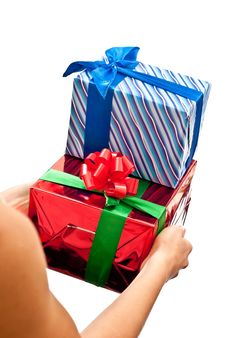Free Red And Blue Gifts Boxes Stock Images - 15997874