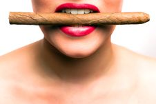Free Mouth With Red Lips Biting In A Cigar Stock Images - 15997914