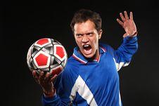 Free Football Player Screaming At Ball Royalty Free Stock Photography - 15999637