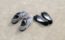 Free Shoes On Beach Sand Royalty Free Stock Photography - 15999847