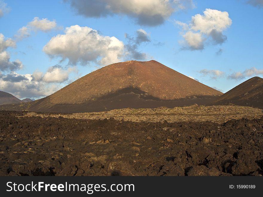 Vulcanic landscape under the extincted vulcano