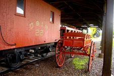 Free RailCar And Baggage Cart Royalty Free Stock Images - 163569