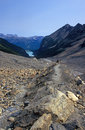 Free Hiker On Trail Above Lake Louise Stock Image - 1608441