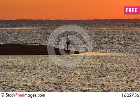 Free Sunset Fishing Royalty Free Stock Image - 1602736