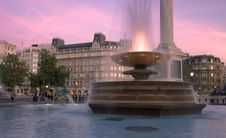 Fountains At Sunset Royalty Free Stock Photo