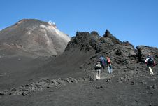 Free Hikers On Volcano Etna Royalty Free Stock Photography - 1601557