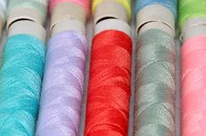 Macro Pic: Assorted Colors Reels Of Thread 2 Royalty Free Stock Photography