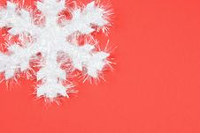 Free White Snowflake On Red Background Stock Photo - 1602440
