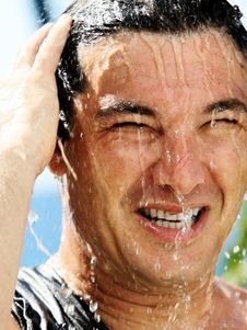 Free Man In A Shower Royalty Free Stock Image - 1603066