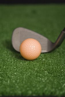 Free Picture Of Orange Golf Ball And Iron At Address Stock Images - 1603324