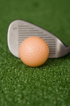 Free Picture Of Orange Golf Ball And Sand Wedge At Address Royalty Free Stock Photography - 1603327
