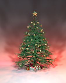 Free Golden Christmas Tree Royalty Free Stock Photos - 1604258
