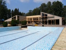 Brand New Swimming Pool And Cafe Royalty Free Stock Photo