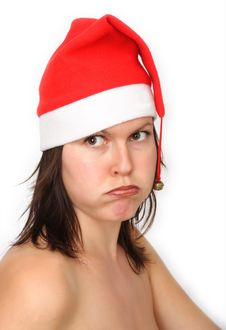 Girl With Santas Hat(fed Up) Stock Images