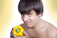 Free Man Eat Pepper Stock Photo - 1609810