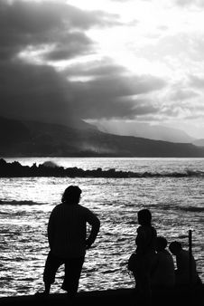 Silhouettes In The Afternoon Royalty Free Stock Images