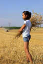Free Young Gypsy Girl On A Grain Field Royalty Free Stock Images - 16006359