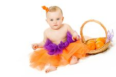 Free Baby Girl With Basket Royalty Free Stock Photography - 16000567