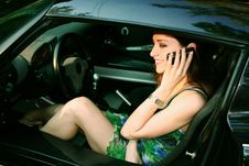 Beautiful Girl Is Talking On Telephone Royalty Free Stock Photo