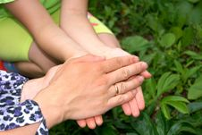 Free Hands Of Mother And The Daughter Royalty Free Stock Photos - 16004008