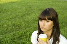 Free Beautiful Girl In The Park With Coffee Stock Photo - 16004080