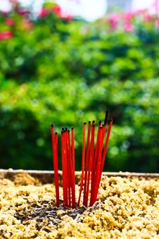 Free Burning Incense Sticks Stock Photography - 16004952