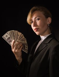 Free Business Woman With Money Royalty Free Stock Photo - 16006055