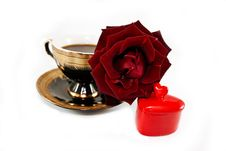Red Rose And A Gift-heart And A Cup Of Coffee Royalty Free Stock Photo
