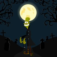 Free The Zombie Against The Moon Stock Image - 16006391