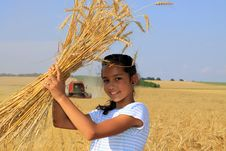 Free Young Gypsy Girl On A Grain Field Royalty Free Stock Photography - 16006407