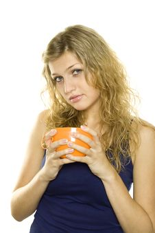 Free Beautiful Girl With A Cup Of Tea Stock Image - 16006481