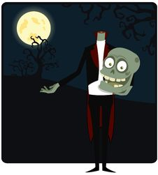 The Zombie Against The Moon Stock Photo