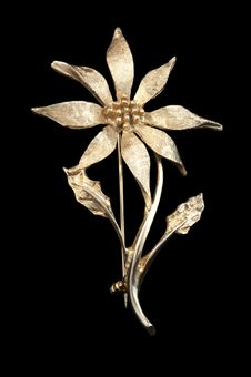 Free Vintage Golden Flower Brooch Stock Image - 16007661