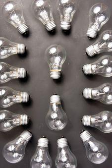 Many Light Bulbs Lying On Black Backround Stock Photography