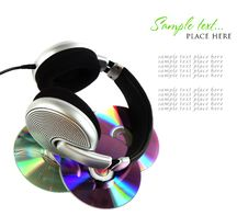 Free Headphones And CD Royalty Free Stock Photo - 16008435