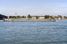 Barge At River Rhine Stock Photography