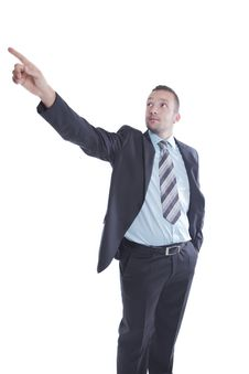 Free Young Businessman Pointing Up Royalty Free Stock Photo - 16008985