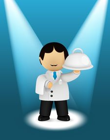 Waiter With A Surprise Dish Stock Image