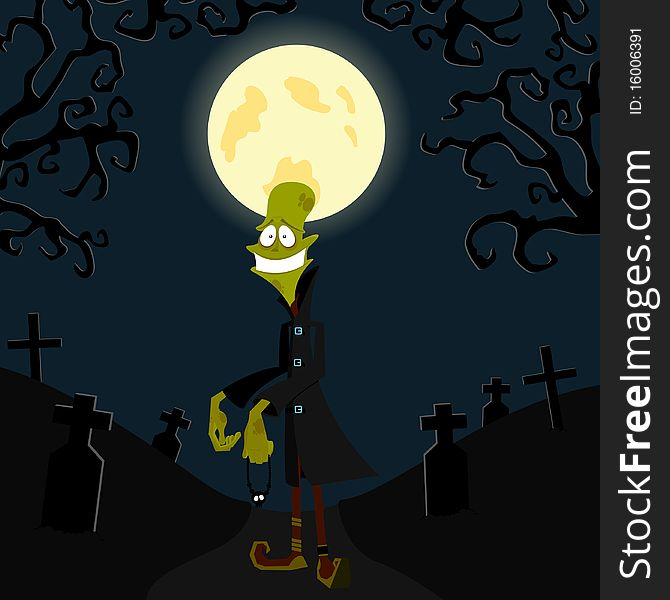 The zombie against the moon