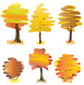 Free Six Yellow  Deciduous Trees. Royalty Free Stock Photos - 16011268