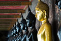 Free Golden Buddha Between Black Buddhas Stock Photos - 16012053