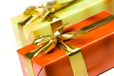Free Gift Box With Golden Ribbon,isolated On The White Royalty Free Stock Images - 16010089