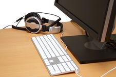 Free Monitor With Headsets Royalty Free Stock Image - 16010636